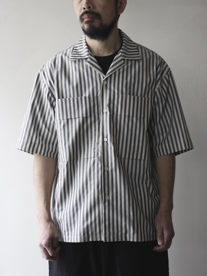 "ULTERIOR /STRIPED OPEN COLLAR SHIRT""ECRU GREY"""