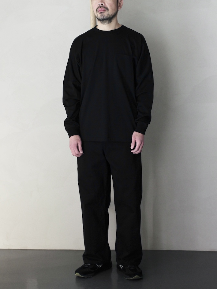 "ULTERIOR / SUVIN COTTON L/S POCKET T  ""black"""