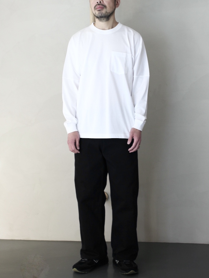 "ULTERIOR / SUVIN COTTON L/S POCKET T  ""white"""