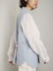 """amiu.c / Triple Gauze Quilted Over Vest """"BLUE GRAY"""""""