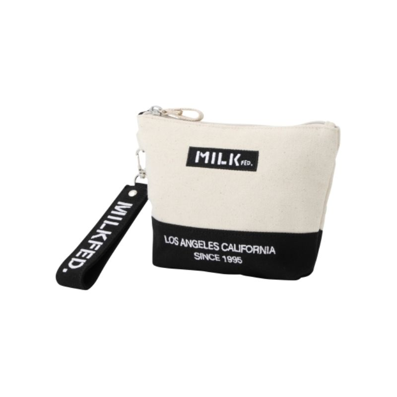 MILKFED. EMBROIDERED BAR DAILY POUCH - 103203054014