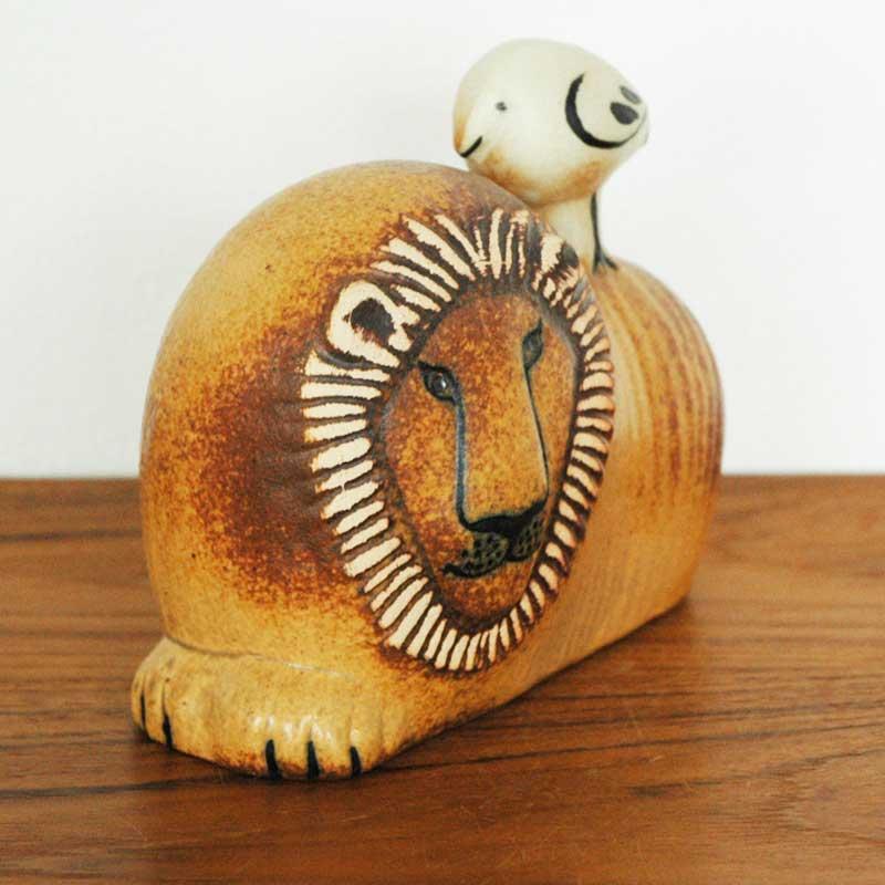 Lion with Bird(ライオンと鳥) オブジェ Lisa Larson(リサ ラーソン) スウェーデン置物
