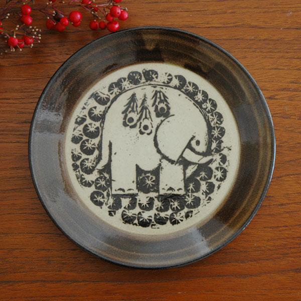 益子の皿・ぞう 茶 5.5寸皿/Japan Seriesジャパンシリーズ・益子焼/Lisa Larson(リサ・ラーソン)