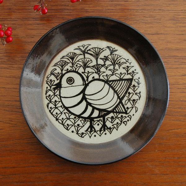 益子の皿 とり 茶 5.5寸皿 Japan Seriesジャパンシリーズ・益子焼 Lisa Larson(リサ・ラーソン)