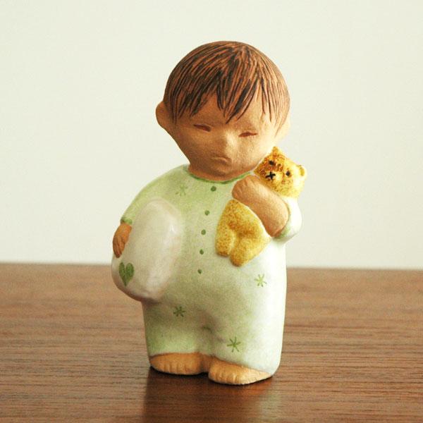 Boy with Bear green(ボーイ・ウィズ・ベア)グリーン/男の子とクマ/Lisa Larson(リサ ラーソン)/北欧オブジェ・置物