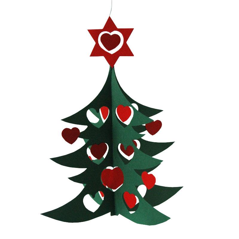 クリスマスモビール/ハートのクリスマスツリー・Green tree w hearts dobule 18cm/Livingly(リビングリー)