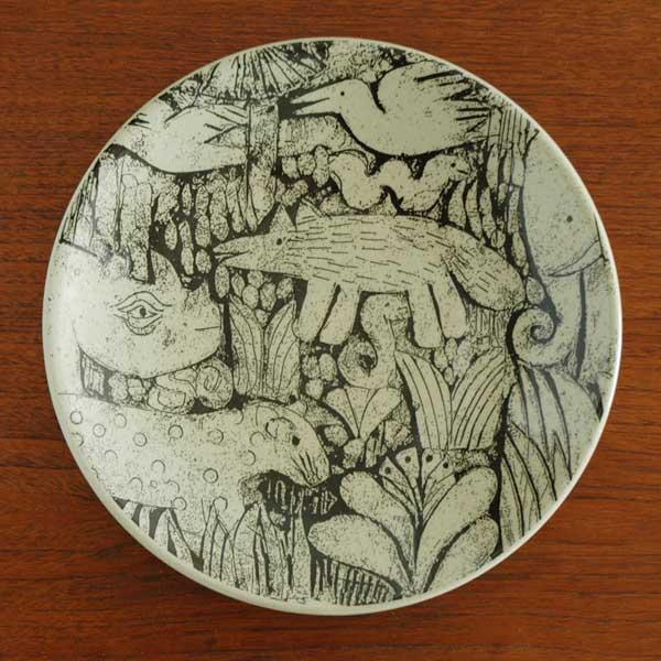 森と動物の絵皿 8寸皿 益子焼 Japan Seriesジャパンシリーズ Lisa Larson(リサ・ラーソン)