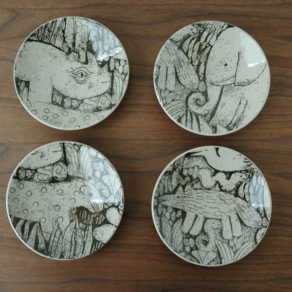 益子の皿 森と動物の絵皿 4寸皿 Japan Seriesジャパンシリーズ・益子焼 Lisa Larson(リサ・ラーソン)