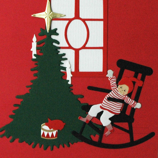 クリスマスカード/椅子に座った男の子/Oda Wiedbrecht(オダ・ウィードブレクト)北欧デンマーク