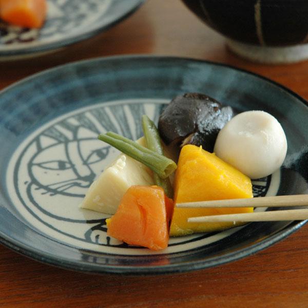 益子の皿・ねこ白・青/5.5寸皿/Japan Seriesジャパンシリーズ・益子焼/Lisa Larson(リサ・ラーソン)