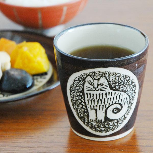 湯呑み NINA(ニナ)ねこ 茶 益子焼 Japan Seriesジャパンシリーズ Lisa Larson(リサ・ラーソン)