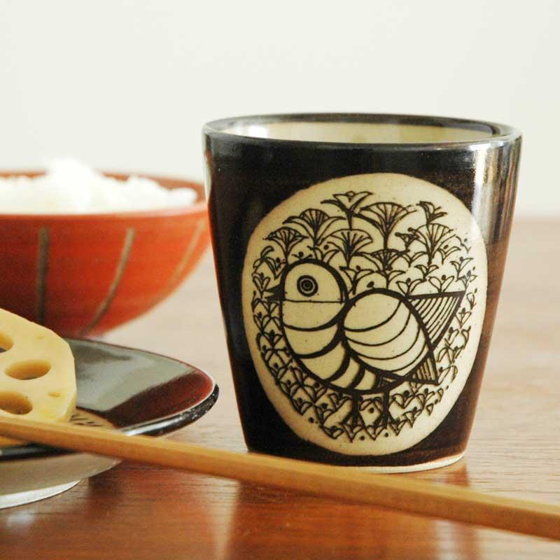 湯呑み とり 茶 益子焼 Japan Seriesジャパンシリーズ Lisa Larson(リサ・ラーソン)
