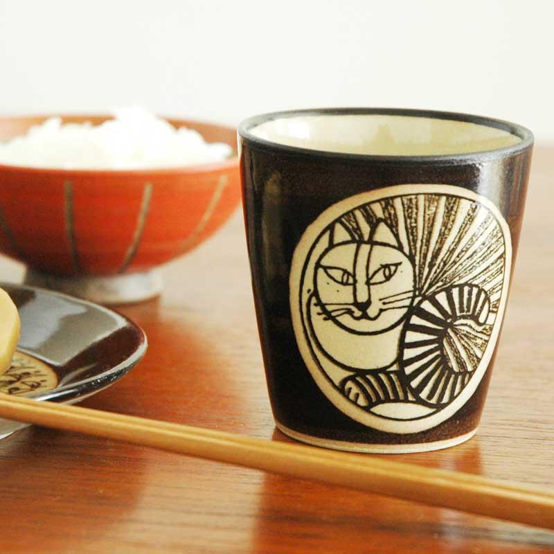 湯呑み ねこ白 茶 益子焼 Japan Seriesジャパンシリーズ Lisa Larson(リサ・ラーソン)