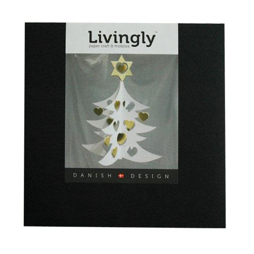 クリスマスモビール/ハートのクリスマスツリーWhite tree w hearts dobule 18cm/Livingly(リビングリー)