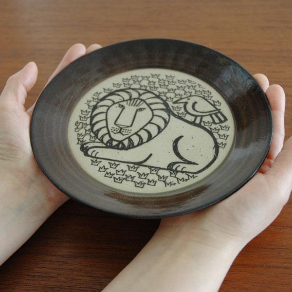 益子の皿 ライオンと鳥 茶 5.5寸皿 Japan Seriesジャパンシリーズ 益子焼 Lisa Larson(リサ・ラーソン)