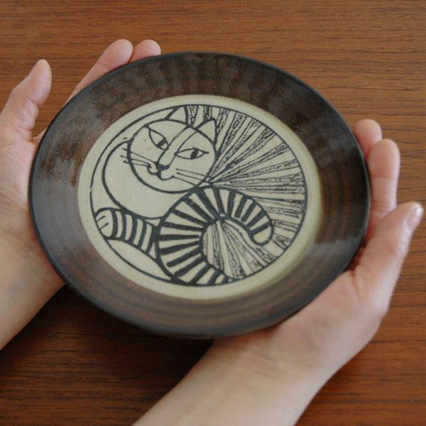 益子の皿 ねこ白・茶 5.5寸皿 Japan Seriesジャパンシリーズ・益子焼 Lisa Larson(リサ・ラーソン)