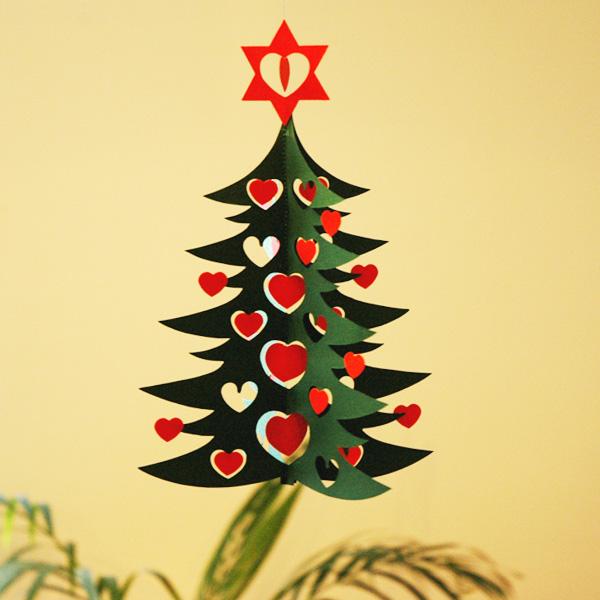 クリスマスモビール/ハートのクリスマスツリー・Green tree w hearts dobule 27cm/Livingly(リビングリー)
