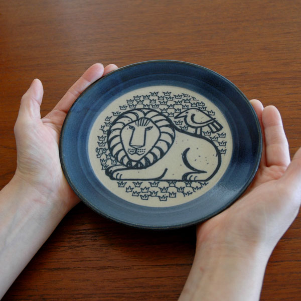 益子の皿・ライオンと鳥5.5寸皿/青/Japan Seriesジャパンシリーズ・益子焼/Lisa Larson(リサ・ラーソン)