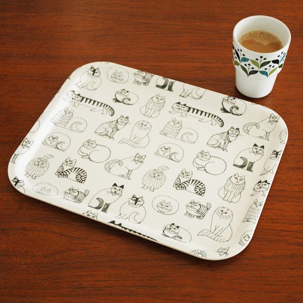 Sketch Cats Tray(スケッチ・キャッツ・トレイ) Mサイズ 28×36cm 木製トレイ/Lisa Larson(リサラーソン)/opto design