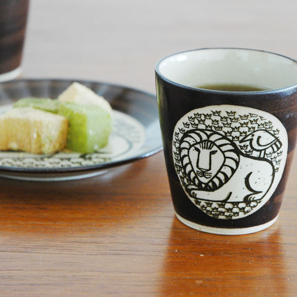 湯呑み ライオンと鳥 茶 益子焼 Japan Seriesジャパンシリーズ Lisa Larson(リサ・ラーソン)