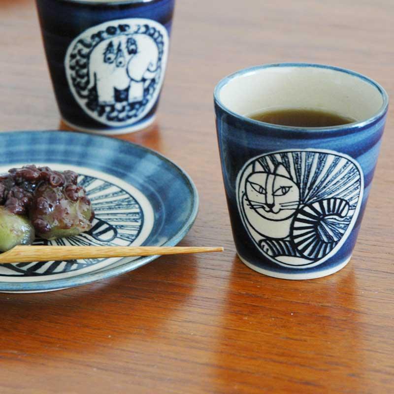 湯呑み ねこ白 青 益子焼 Japan Seriesジャパンシリーズ Lisa Larson(リサ・ラーソン)