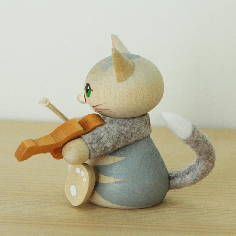 ブレーメンの音楽隊・ネコ/エストニア・ハンドメイド・木製オブジェ