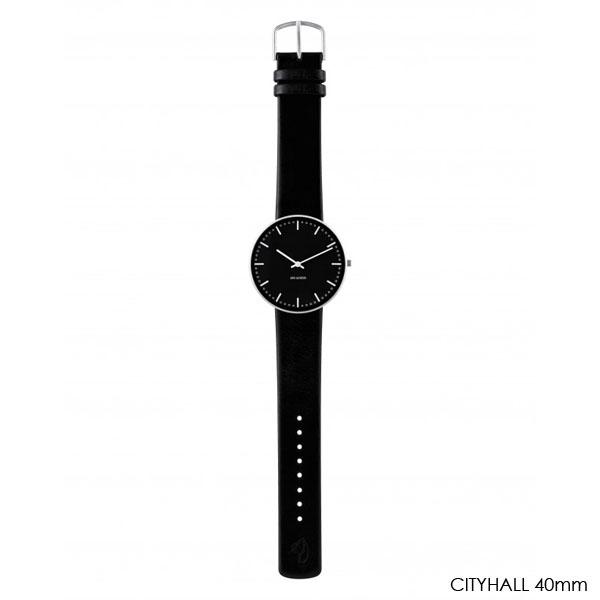 アルネヤコブセン・腕時計 CityHall Face Black シティーホール 40mm レザーストラップ ARNE JACOBSEN WATCHS
