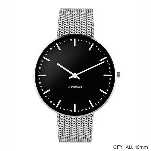 アルネヤコブセン・腕時計 CityHall Face Black シティーホール 40mm シルバーメッシュストラップ ARNE JACOBSEN WATCHS