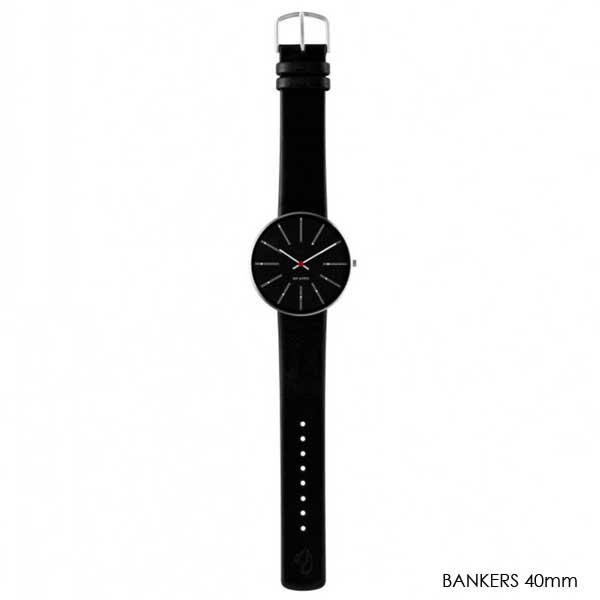 アルネヤコブセン 腕時計・Bankers Black Face バンカーズ レザーストラップ 40mm ARNE JACOBSEN WATCHS