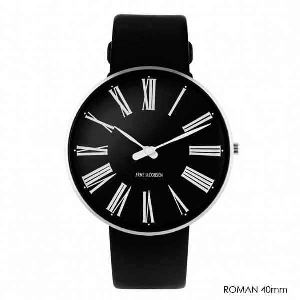 アルネヤコブセン・腕時計 ROMANローマン 40mm レザーストラップARNE JACOBSEN WATCHS