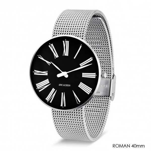アルネヤコブセン・腕時計 ROMAN Black Face ローマン 40mm シルバーメッシュストラップ ARNE JACOBSEN Watchs