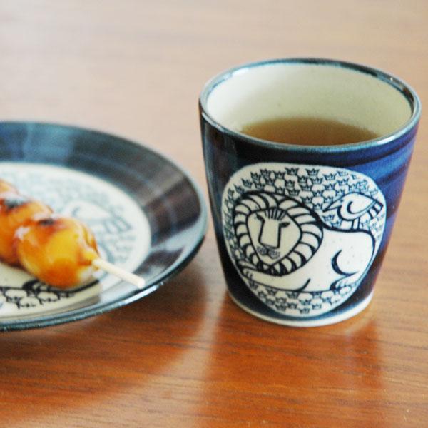 湯呑み ライオンと鳥 青 益子焼 Japan Seriesジャパンシリーズ Lisa Larson(リサ・ラーソン)