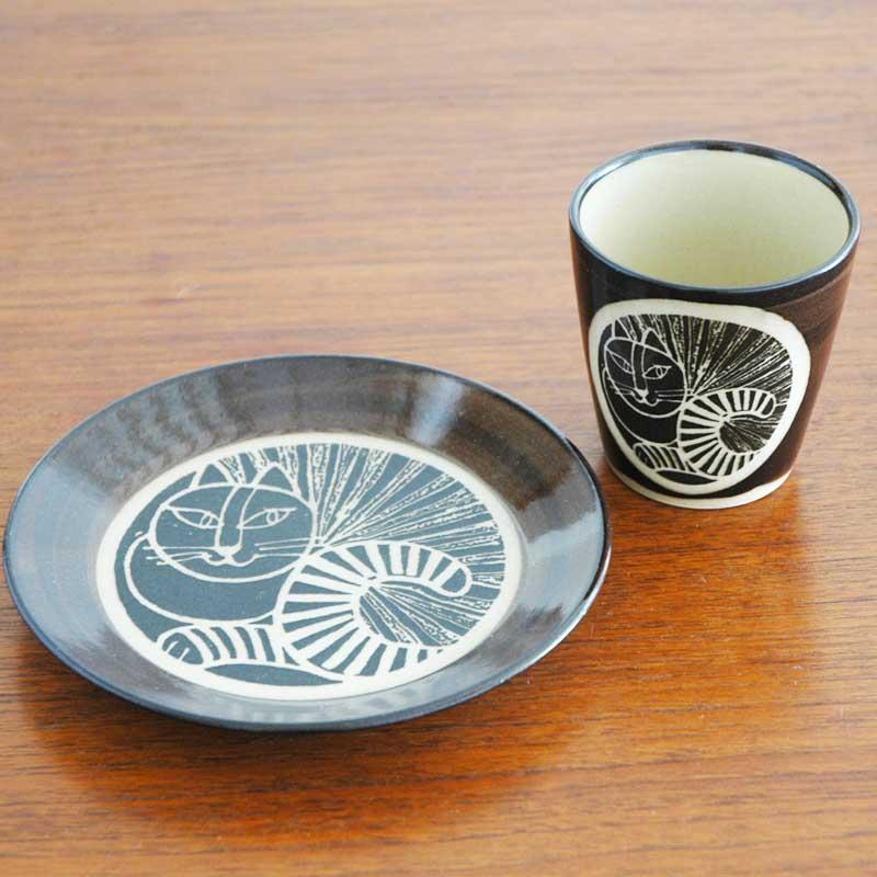 湯呑み ねこ黒 茶 益子焼 Japan Seriesジャパンシリーズ Lisa Larson(リサ・ラーソン)