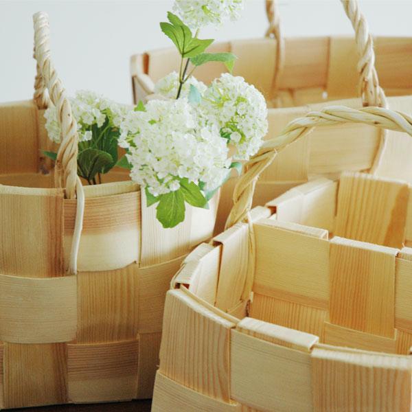 Square Basket(スクエアバスケット)かご・持ち手付/パイン(松)/エストニア製/ハンドメイド