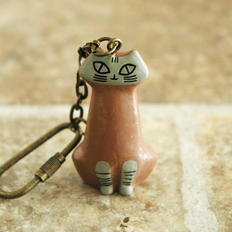 リサラーソンLisa Larson・キーホルダー Lilla Zoo(リラズー)丸猫・座り猫・立ち猫