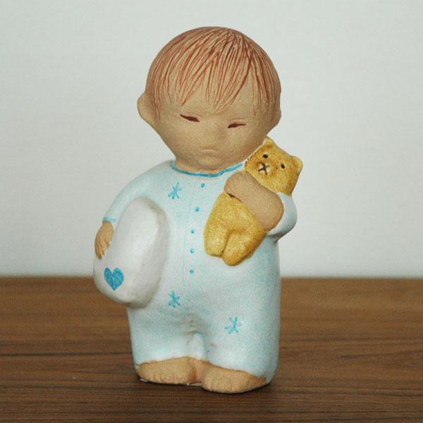 Boy with Bear blue(ボーイ・ウィズ・ベア)ブルー/男の子とクマ/Lisa Larson(リサ ラーソン)/北欧オブジェ・置物