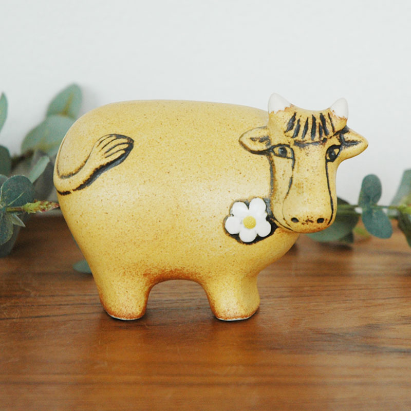 スウェーデンのお花のうし  Lisa Larson(リサラーソン) 置物 オブジェ