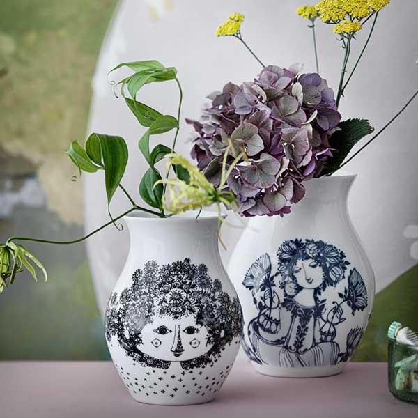 ビヨン・ヴィンブラッド Bjorn Wiinblad Flower Vase(フラワーベース)H18cm Felicia(フェリシア)ブラック 北欧デンマーク 55251