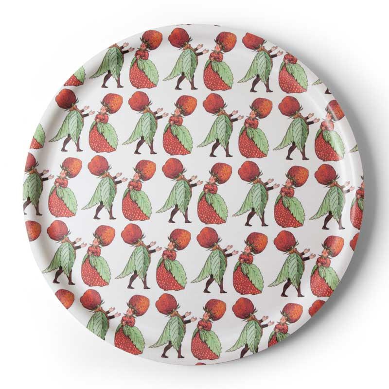 【販売終了】エルサべスコフ ラウンドトレイ丸型35cm The Strawberry Family(ストロベリーファミリー)DESIGN HOUSE stockholm(デザインハウス ストックホルム)