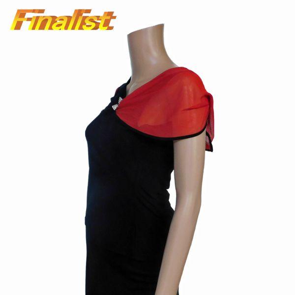 中古 トップス 黒X赤 袖フリル