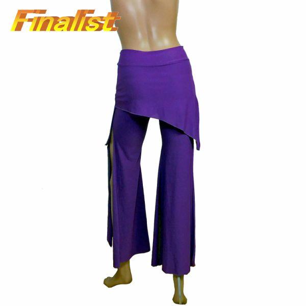 中古 社交ダンススカート ライトパープルオーバースカート付きパンツ