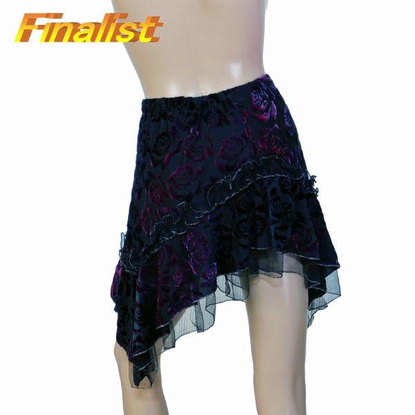 中古 社交ダンススカート パープル薔薇