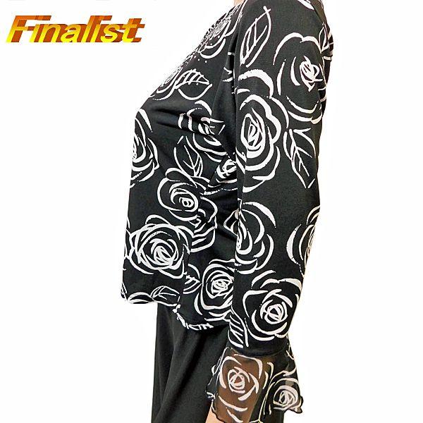 中古 社交ダンス トップス 黒に白のバラの花 OHTP179322