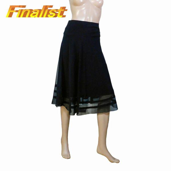 中古 社交ダンススカート 黒表地シースルー