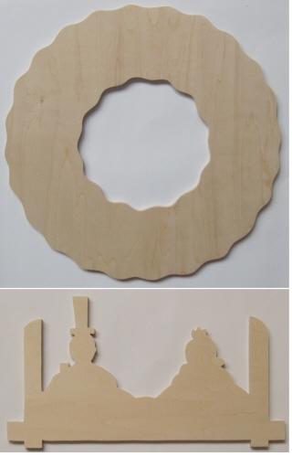 トールペイント ご自分で描く 図案付白木素材   弥生雛のリース2点セット mh-560