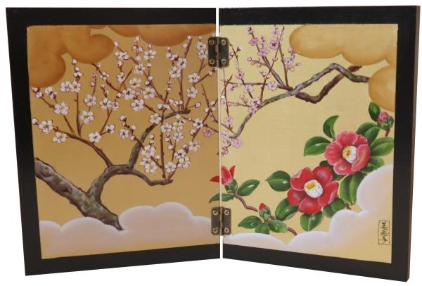 トールペイントご自分で描く図案付白木素材  2曲屏風(小) 梅と椿 cwk-247 丁番2ヶビス付き 小ぶりの屏風。