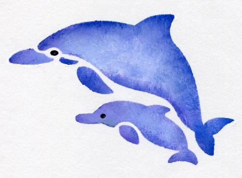 ファインホームのステンシルシート fh-279M イルカの親子 Mサイズ