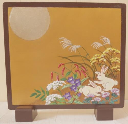 トールペイントご自分で描く図案付白木素材セット  cwk-249 ミニ衝立 秋草と月夜のうさぎ