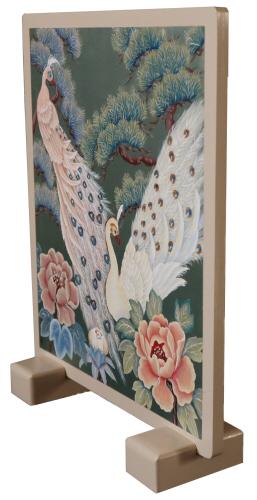 トールペイントご自分で描く図案付白木素材セット  cwk-250 ミニ衝立台脚付 孔雀