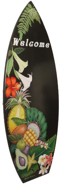 トールペイント ご自分で描く図案付白木素材 MDFボード cwk-254 サーフボード型特大 ハワイアンウェルカム